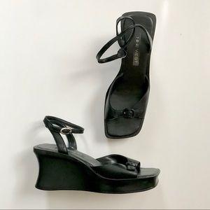 Vintage 90's Black Square Toe Platform Sandals